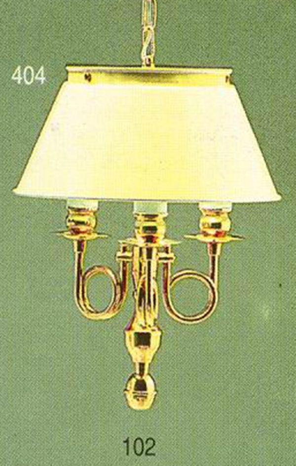 Pendente Golden Art Inglês Vintage Curvas Metal Dourado Cúpula Branca 3 Lamp. 26x41 E-27 T010 Hall Sala