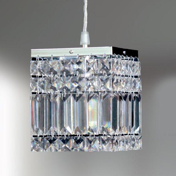 Pendente Golden Art Quadrado Aço Escovado Cristal Trabalhado Translúcido 13x13 Laila G9 T921 Hall Quartos