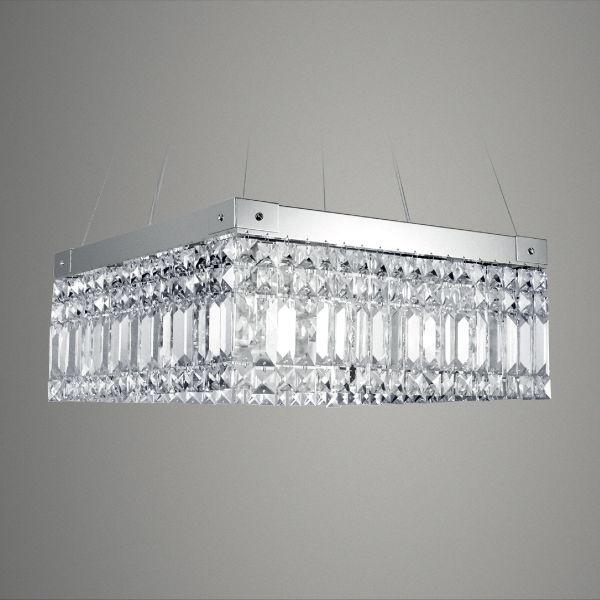 Pendente Golden Art Quadrado Aço Escovado Cristal Trabalhado Translucido 40x40 G9 T287 Quartos Salas