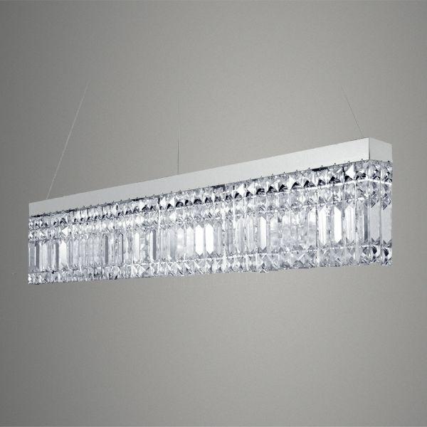 Pendente Golden Art Retangular Canaleta Aço Escovado Cristal Trabalhado Translucido 80x5 G9 T288 Hall Saguão