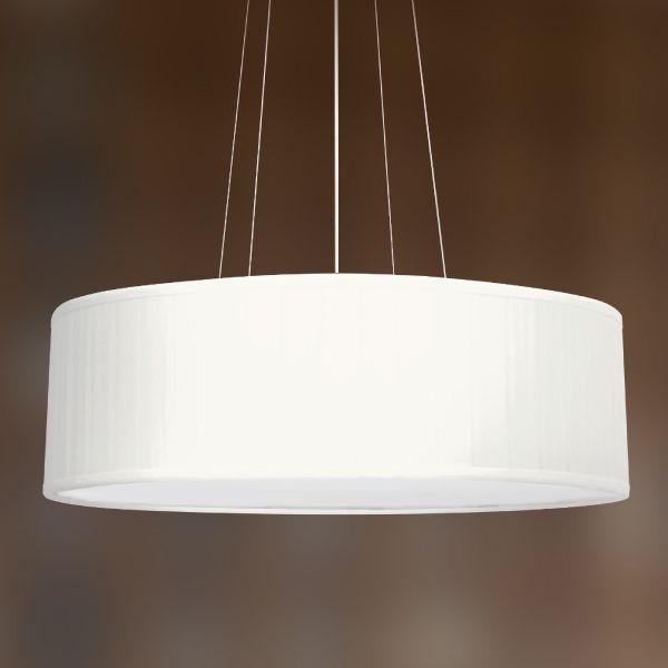 Pendente Golden Art Seda Pregueada Redondo Tecido Bege 20x60cm 3x Lamp. E27 110v 220v Bivolt T973 Cozinhas Quartos