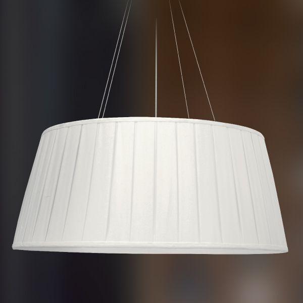 Pendente Golden Art Seda Pregueada Redondo Tecido Branco 30x70cm 3x Lamp. E27 110v 220v Bivolt T970 Quartos Mesas