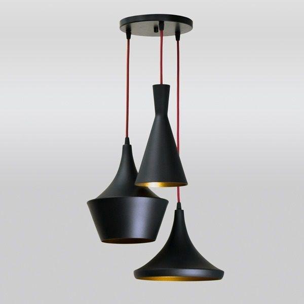 Pendente Golden Art Triplo Cone Moderno Metal Cabo Ø40cm 3x Lamp. E27 110v 220v Bivolt T9080-3 Cozinhas Hall