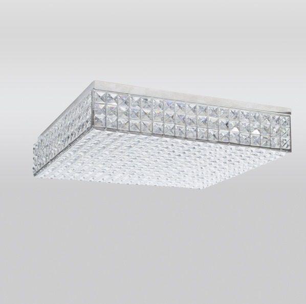 Plafon Golden Art Cristal Quadrado Sobrepor Contemporâneo 10x55cm 1x G9 Halopin 110v 220v Bivolt T957-55 Sala Estar Hall