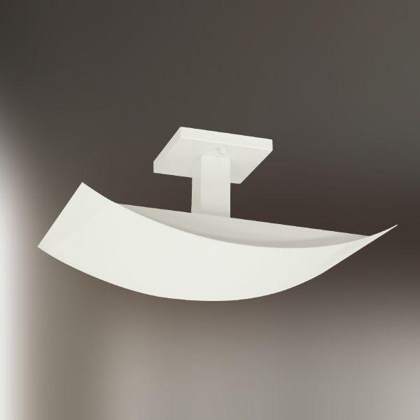 Plafon Golden Art Retangular Curva Metal Fosco Branco Luz Indireta 40x25 Halógena T198 Sala Estar Quartos