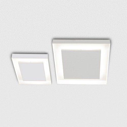 Plafon Golden Art Sobrepor Quadrado Metal Fosco Branco 50x50 Sanca G9 T117-50 Quartos Cozinhas