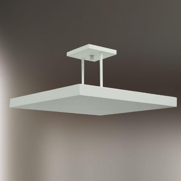 Plafon Golden Art Sobrepor Quadrado Metal Fosco Branco Slim 40x40cm Halógena T116-40 Sala Estar Quartos