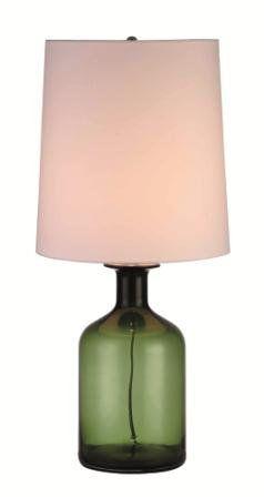 Abajur Mantra Co 30209 1 Lamp E27 VIDRO Verde Cupula  SHANTUNG CREME       Quartos e Criado Mudo