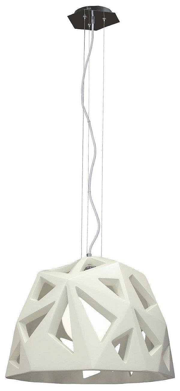 Pendente Mantra Co 3096 FACETTE Geometrico Moderno OFF Branco   1 Lamp E27  BIVOLT  D-50cm H-250cm Salas e Entradas