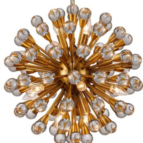 Lustre Mantra 30516 NUCLEO CRISTAL  Atomo DOURADO   20 Lamp. E14 BIVOLT D-55cm H-55cm Salas e Hall