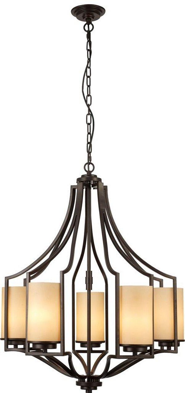 Lustre Mantra Co 30524 CANDELA   Candelabro Marrom METAL ENVELHECIDO   5 Lamp  E27 BIVOLT  D-63cm H-76cm Salas e Mesas de Jantar