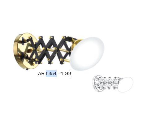 Arandela Old Artisan Iluminação AR 5354 Esfera Bola De Vidro Articulado Sanfonada 1 - G9 A-220XL-140XP-200 até 370
