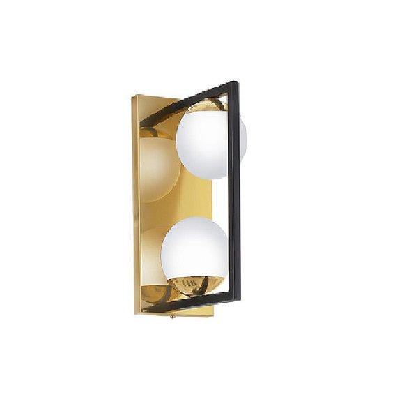 Arandela Old Artisan Iluminação AR5294 Retangular Dupla Esfera Bola De Vidro Moderna Dourada Cores (2 - G9) A-285XP-180XL-120