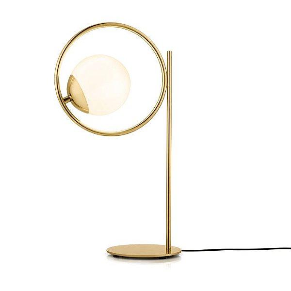 LUMINÁRIA DE MESA Abajur Klaxon Iluminação Belle Esfera Bola Vidro Moderno  26,4 cm x 46,7 cm x 19 cm