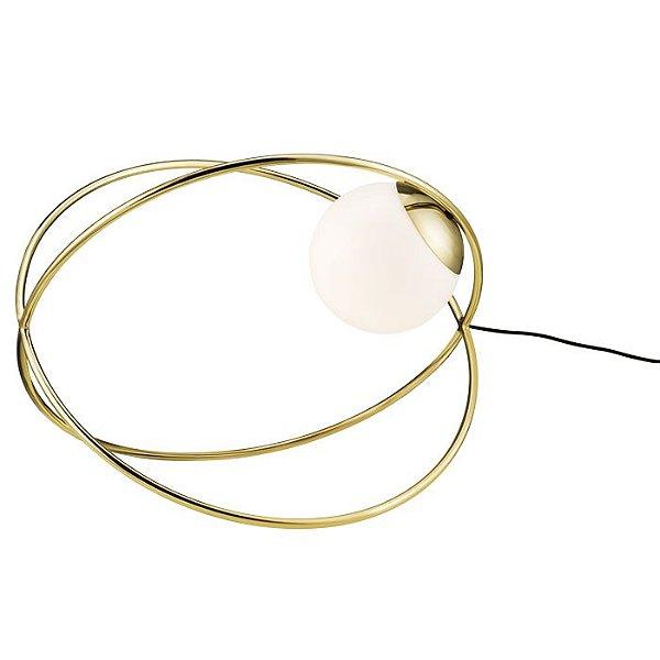 LUMINÁRIA DE MESA CHÃO Klaxon Iluminação Twist Abajur Aro Redondo Esfera Bola Vidro  61,3 cm x 43,6 cm x 61,3 cm