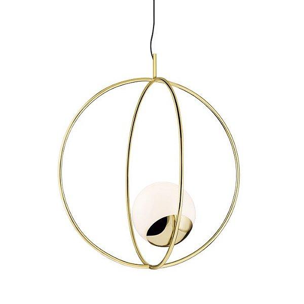 PENDENTE Klaxon Iluminação Twist Aro Redondo Esfera Bola Vidro Moderno 43,6 cm x 64,9 cm x 43,6 cm