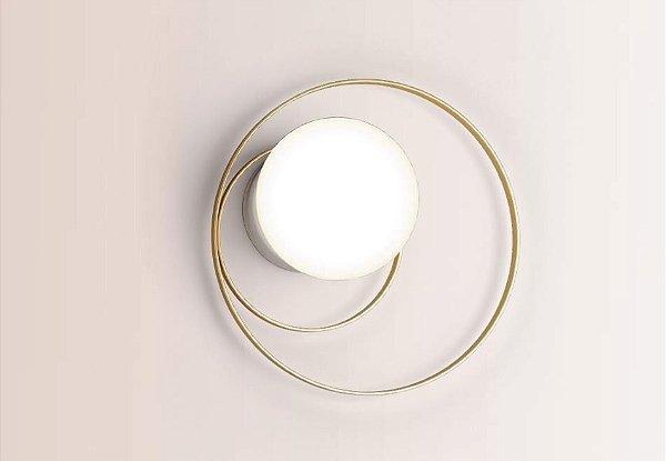 ARANDELA Klaxon Iluminação Feel Aro Redondo Esfera Bola Vidro Moderna 25 cm x 25 cm x 16,9 cm
