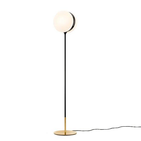 Abajur LUMINÁRIA DE CHÃO Klaxon Iluminação Time Haste Pintada Esfera Bola Vidro 31 cm x 156 cm x 31 cm