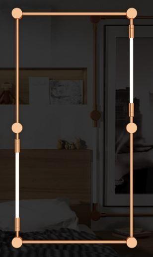 Arandela LUMINÁRIA Klaxon Iluminação CHÂTELET Retangular Tubular Led Moderna  (2 lâmpadas) 94 cm x 180 cm x 4 cm