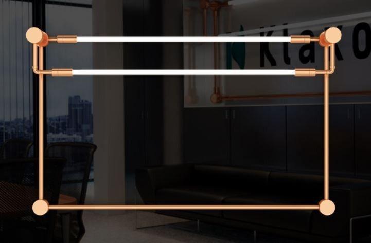 Arandela  LUMINÁRIA Klaxon Iluminação LA DÉFENSE (Horizontal) Retangular Tubular Led Moderna 154 cm x 94 cm x 16 cm