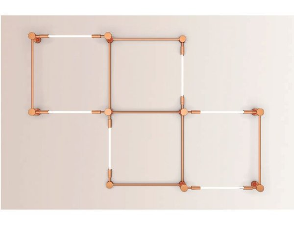 Arandela  LUMINÁRIA Klaxon Iluminação TROCADÉRO Geométrica Tubular Led Moderna 265 cm x 180 cm x 16 cm