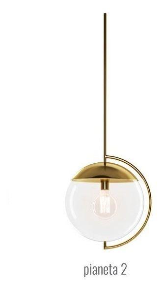 PENDENTE Klaxon Iluminação PIANETA ll Vertical Esfera Bola Vidro Moderno  32 cm x 120 cm x 25 cm