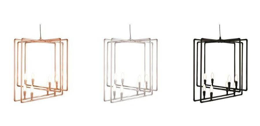 PENDENTE Klaxon Iluminação 1831 J.Maxwell Tubular  Moderno Quadrado 68 cm x 65 cm x 68 cm