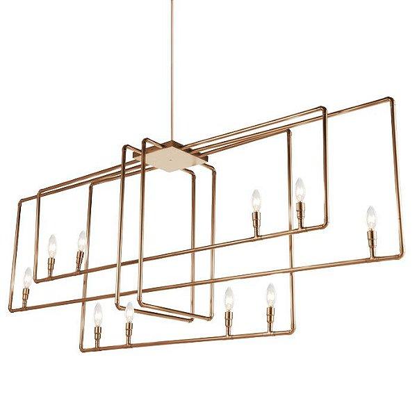 PENDENTE Klaxon Iluminação SQUARE Tubular  Moderno Retangular 180 cm x 68,5 cm x 40 cm