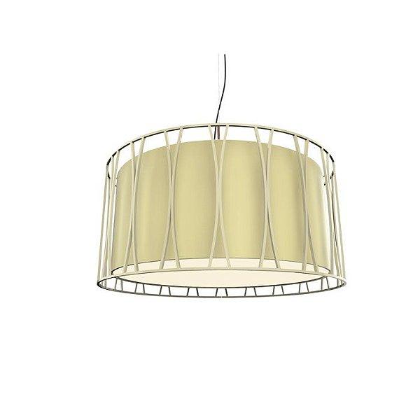 PENDENTE Imports Iluminação CARINO SOLLO Cupula Tecido Aramado Redondo  60 cm x 30 cm x 60 cm