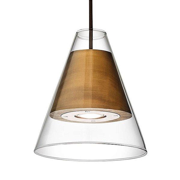 PENDENTE Klaxon Iluminação 168  Cupula Vidro Madeira Soquete Gu10 - Ptolomeu 17,5 cm x 20 cm  x 17,5 cm