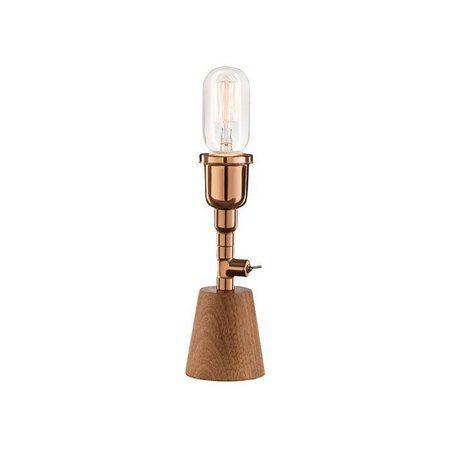 Abajur LUMINÁRIA DE MESA Klaxon Iluminação 1706 Base madeira Tubular Canos Franklin 7,5 cm x 21 cm x 7,5 cm
