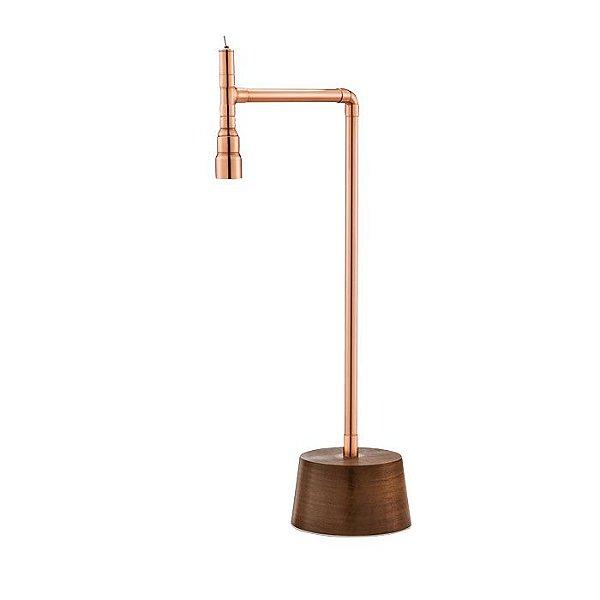 Abajur LUMINÁRIA DE MESA Klaxon Iluminação 1771 Henry Base madeira Tubular Canos 13,5 cm x 51,5 cm x 25 cm