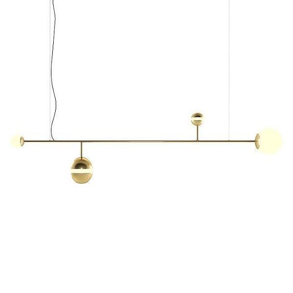 PENDENTE Klaxon Iluminação MAADI Tubular Esfera Bola de Vidro Moderno 120 cm x 62 cm x 20 cm