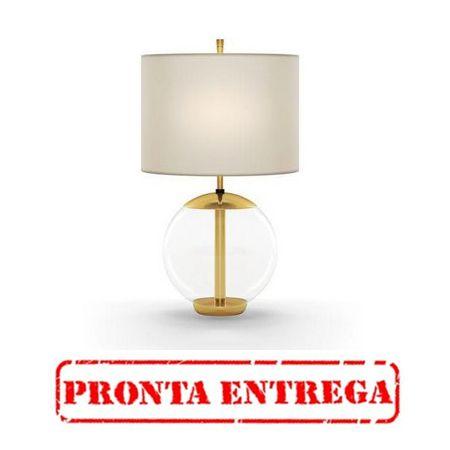 ABAJUR Klaxon Iluminação LITTLE MID Base Bola Vidro Cupula Tecido Redonda 18 cm x 30 cm x 18 cm / PRONTA ENTREGA