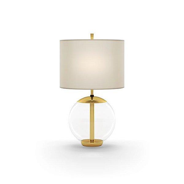 ABAJUR Klaxon Iluminação LITTLE MID Base Bola Vidro Cupula Tecido Redonda 18 cm x 30 cm x 18 cm