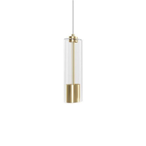 PENDENTE Klaxon Iluminação PRATI Vertical Cupula Vidro Cilindrica 10 cm x 36 cm x 10 cm