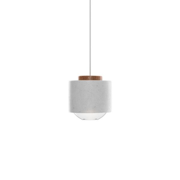 PENDENTE Klaxon Iluminação HOUT Bolinha Redondo Concreto Vertical Bola Vidro 13 cm x 15 cm x 13 cm