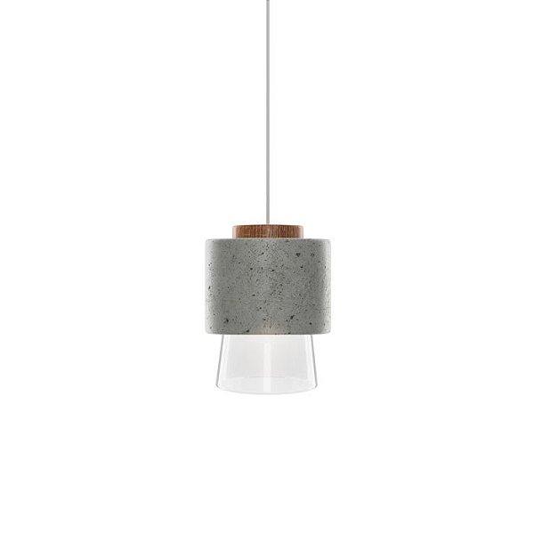 PENDENTE Klaxon Iluminação HOUT Cone Redondo Concreto Vertical Bola Vidro 13 cm x 19 cm x 13 cm