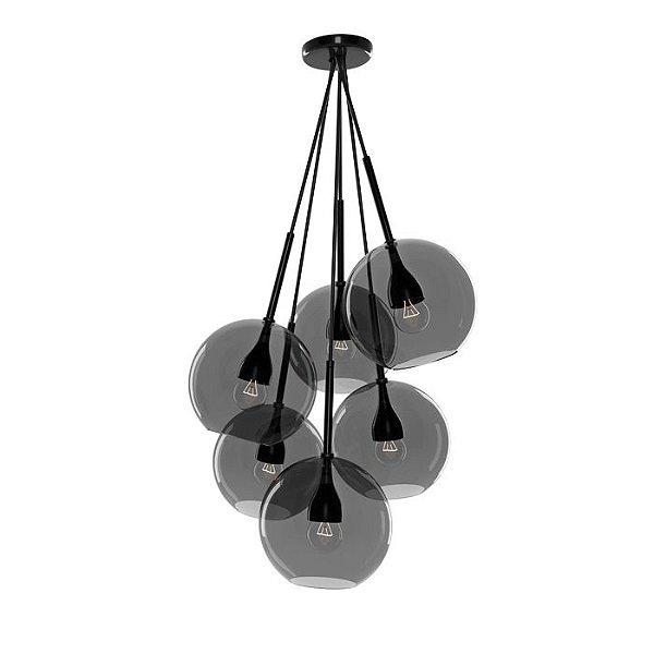 PENDENTE Imports Iluminação KAMARI Fumê Pendurado Esfera Bola de Vidro Moderno 65 cm x 30 cm x 65 cm