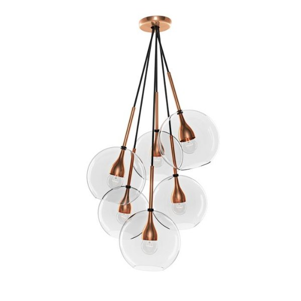 PENDENTE Klaxon Iluminação KAMARI Cobre Pendurado Esfera Bola de Vidro Moderno  65 cm x 30 cm x 65 cm