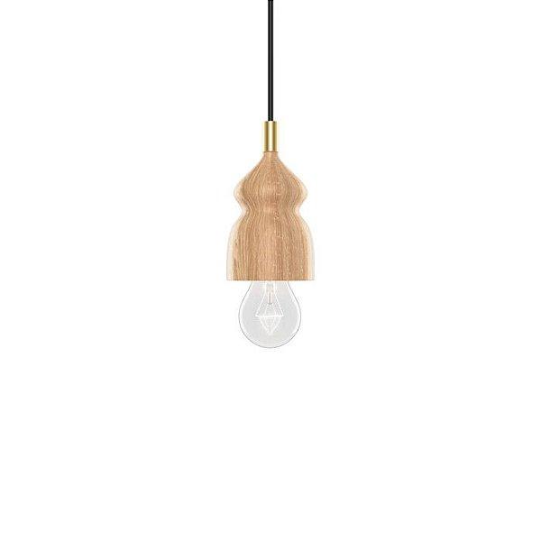 PENDENTE Klaxon Iluminação GLEN Vertical Base Madeira 9 cm x 16 cm x 9 cm