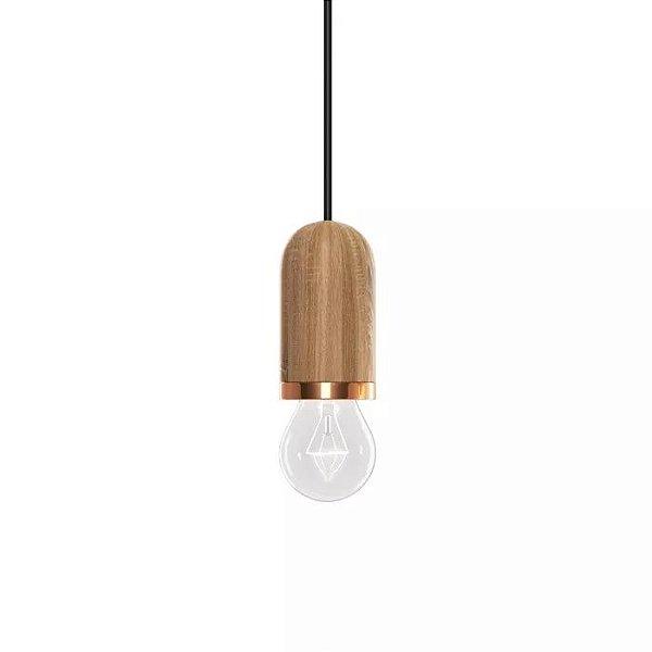 PENDENTE Klaxon Iluminação GINZA Vertical Base Madeira 5,5 cm x 8 cm x 5,5 cm