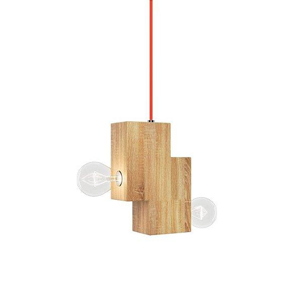 PENDENTE Klaxon Iluminação NEHRU Quadrado Cubo Moderno Base Madeira 18 cm x 12 cm x 6 cm