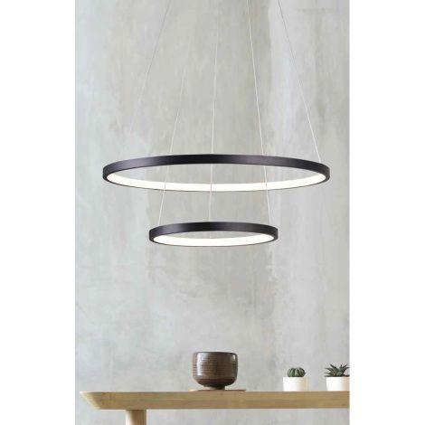PENDENTE QUALITY NEWLINE QPD1301-PT METAL  LED Suspenso Aro Esfera Moderno Duplo 40W 3000K 50 30X2CM PRETO