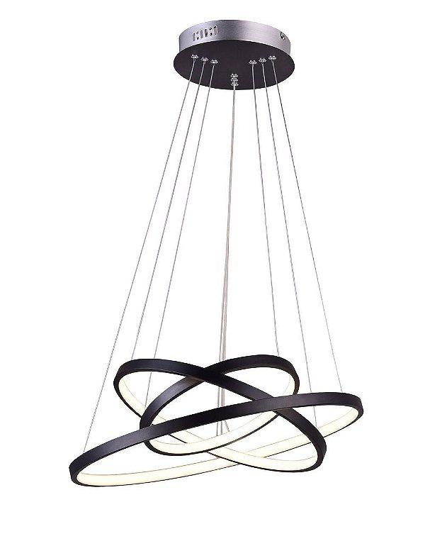 PENDENTE QUALITY NEWLINE QPD1303-PT METAL LED Suspenso Aro Esfera Moderno Triplo 89W 3000K 60*50*40X2CM PRETO