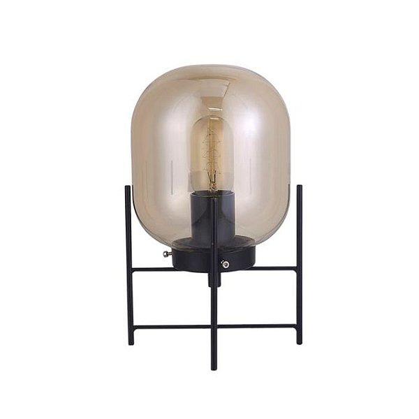 Abajur QUALITY NEWLINE QAB1335FM VIDRO METAL Base Moderno Esfera PRETO FUME Ø16 x A28,5 cm 1XE27