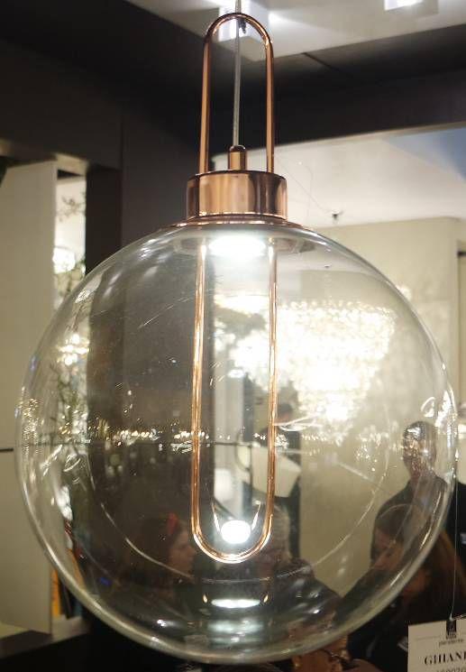 PENDENTE Bella Ilumy AC007G GHIANDA Bola Vidro Vintage Dourado Transparente 30cmx46,5cm  1xLED 3W BIVOLT ROSE