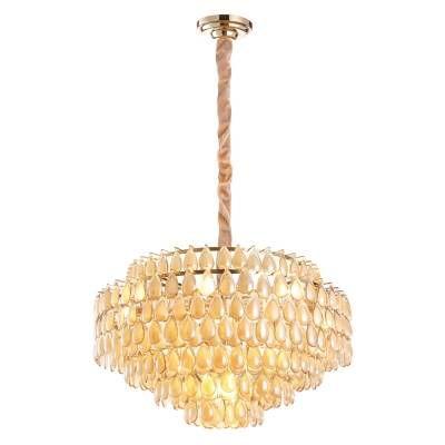LUSTRE Bella Ilumy ODEON AQ026L Cristais Redondo Imperial  A48xD78  16xE14 Conhaque Dourado