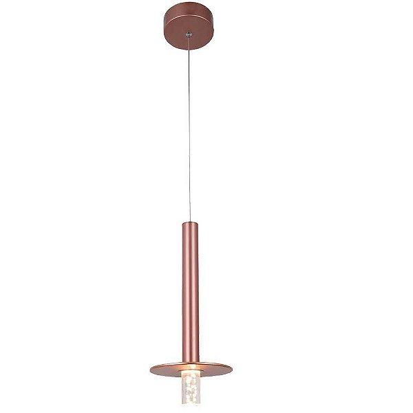 PENDENTE Bella Ilumy BB004E MIMO Pendurado Redondo Moderno ROSE GOLD Transparente 16cm x 36cm  1 x LED 5W