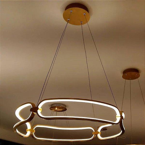 PENDENTE Bella Ilumy BB006E LUMINA Pendurado Aros Redondo Moderno ROSE GOLD 45cm x 9,5cm  1 x LED 37W